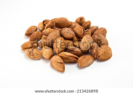 Heap of Almond nut isolated on white - stock photo