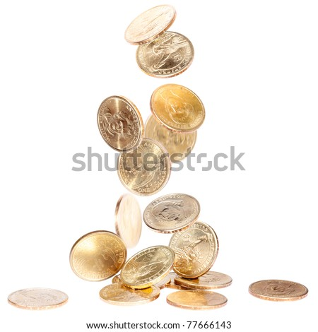 Heap of american dollars falling on the ground - stock photo