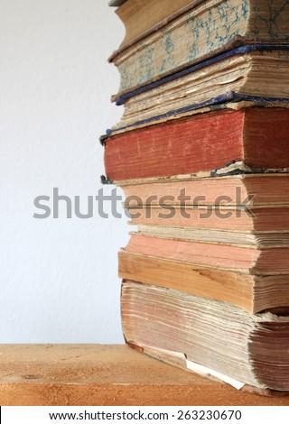 heap of antique books - stock photo