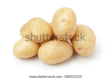 heap of baby potatoes, isolated on white background - stock photo