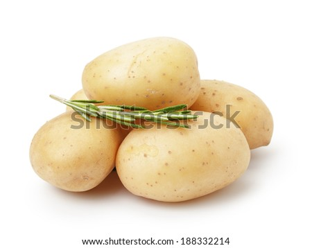 heap of baby potatoes with rosemary, isolated on white background - stock photo