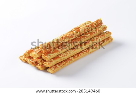 heap of baked sticks with melted cheese - stock photo