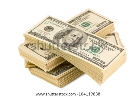 heap of banknotes on a white background - stock photo