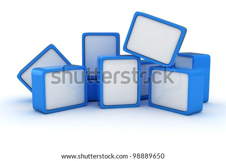 Heap of blue and white cubes on the white background - stock photo