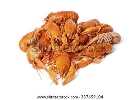 Heap of Boiled Crayfish, Isolated on White Background - stock photo