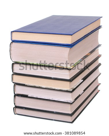 Heap of books isolated on the white background