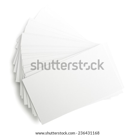 Heap of business cards isolates on white - stock photo