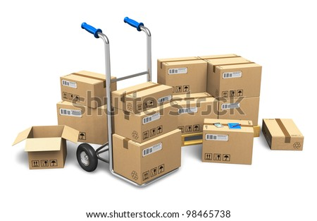 Heap of cardboard boxes with packaged goods and hand truck isolated on white background - stock photo
