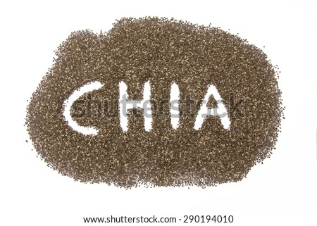 heap of chia seeds with hand written name, isolated on white background - stock photo