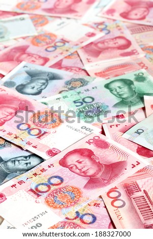 Heap of chinese yuan banknotes - stock photo