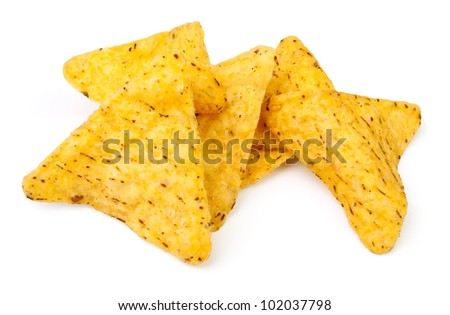 heap of chips against white background