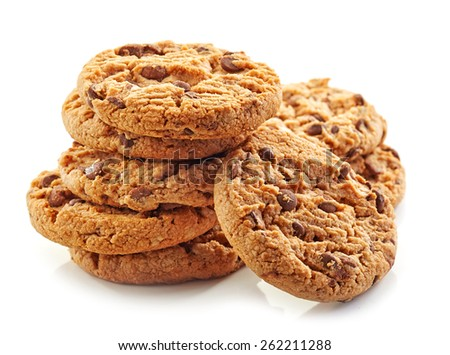 heap of chocolate cookies isolated on white - stock photo