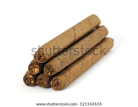 Heap of cigars isolated on white - stock photo