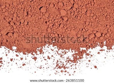 Heap of cocoa powder on a white background
