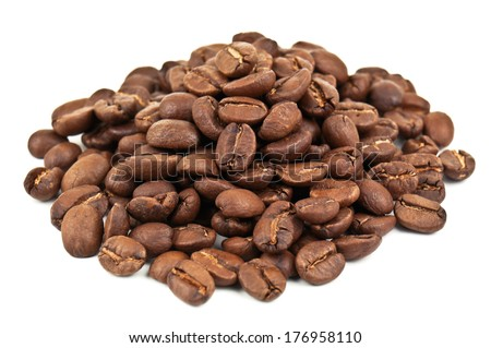heap of coffe beans on white - stock photo