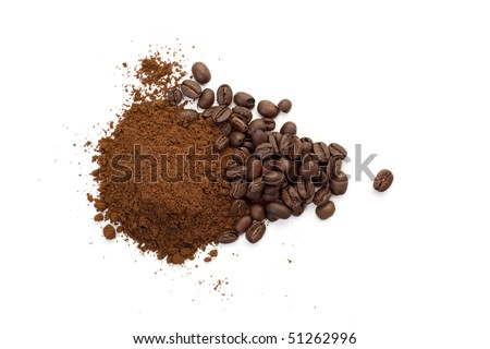 Heap of coffee beans and ground coffee