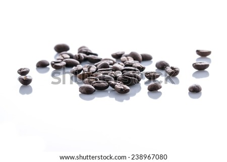 Heap of coffee beans isolated on a white background - stock photo