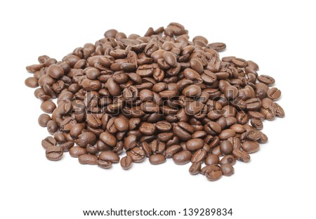 Heap of coffee beans, isolated on white background - stock photo