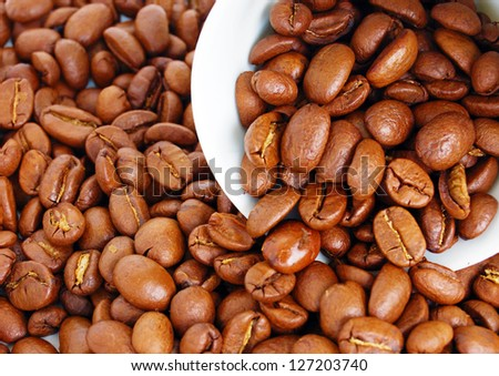 heap of coffee beans with cap