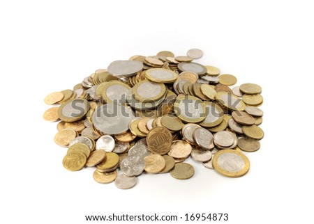 heap of coins, isolated on white