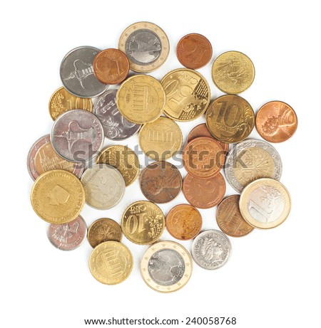 Heap of coins of different countries isolated on white background top view - stock photo