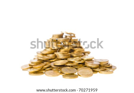 Heap of coins. The riches and well-being concept. Isolated on a white background.