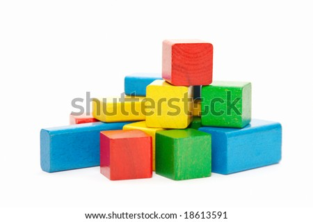 heap of color wooden bricks - stock photo