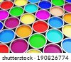 Heap of Colorful Paint Cans Abstract Background - stock photo