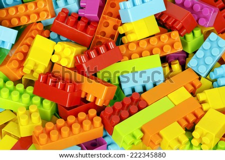 heap of colorful toy blocks  - stock photo