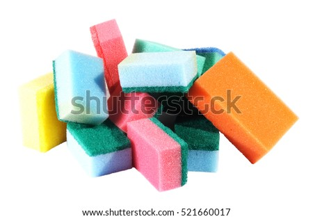 heap of coloured bath sponge, sponge on the white background