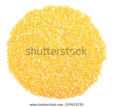 heap of cornmeal isolated on white background - stock photo