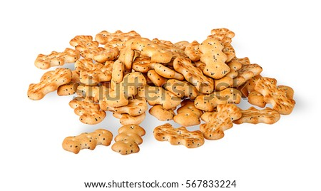 Heap of crackers with poppy seeds isolated on white background