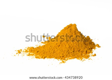 Heap of curry powder, closeup, isolated on white background.