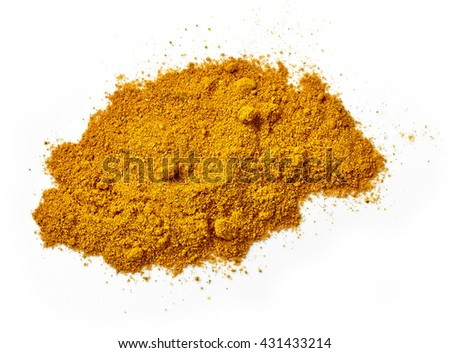 heap of curry powder isolated on white background, top view