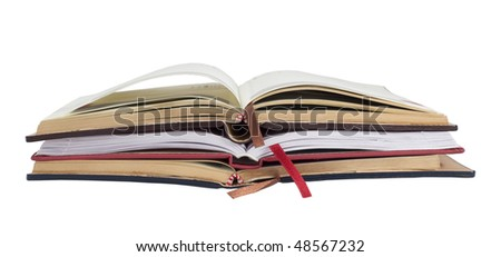 Heap of datebooks isolated on white