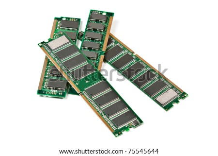 Heap of DDR RAM sticks isolated on white - stock photo