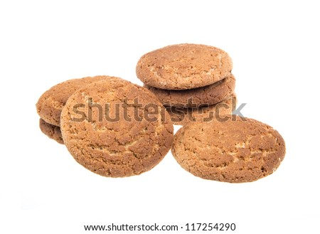 Heap of delicious  cookies isolated on white background