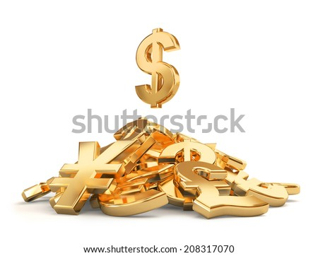 Heap of different currencies symbols. - stock photo