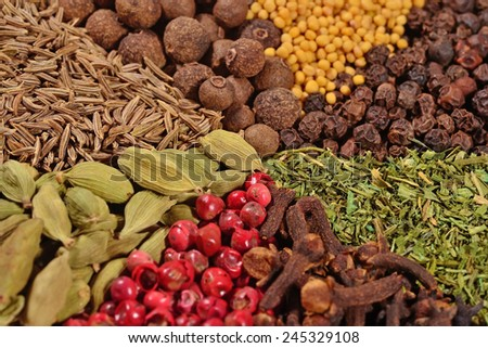 Heap of different dry spices - stock photo