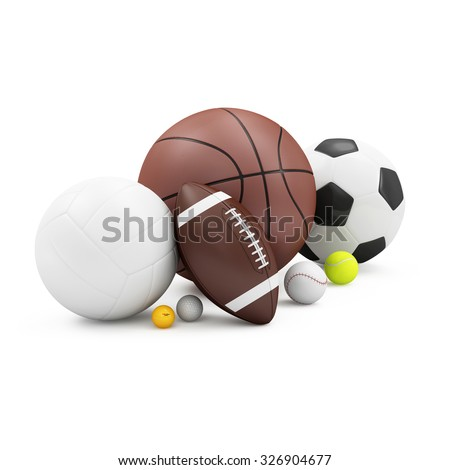Heap of Different Sport Balls: Basketball, Soccer Ball, Volley Ball, Rugby Ball, Tennis ball, Baseball, Golf Ball and Ping-Pong Bal isolated on white background. Sport and Recreation Concept