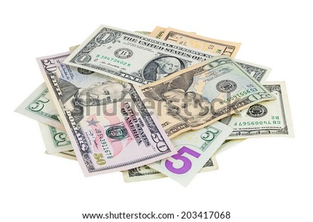 Heap of dollar and isolated on white background with clipping path