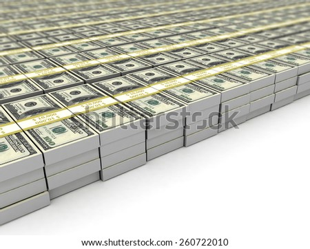 Heap of Dollar Bills bundles isolated on white background  - stock photo