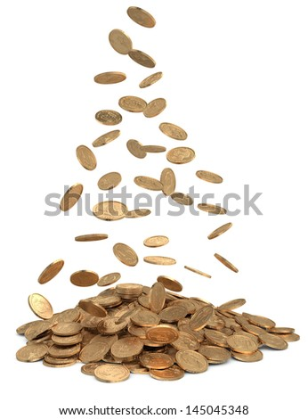 Heap of dollar coins on white - stock photo