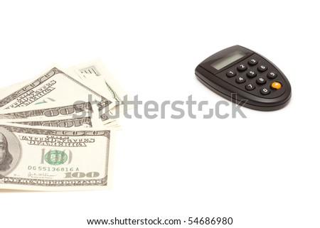 heap of dollars and pin calculator - stock photo