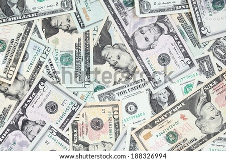 Heap of  dollars close-up - stock photo