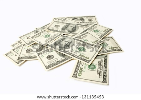 Heap of Dollars isolated on white background with place for your
