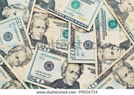Heap of Dollars; Money Background - stock photo