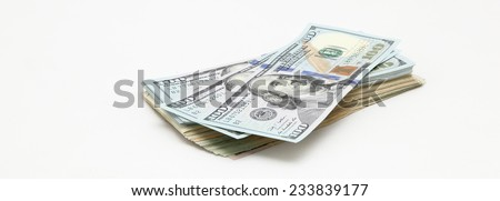 heap of dollars on white background