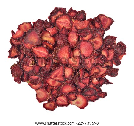 Heap of dried  strawberries on a white background - stock photo
