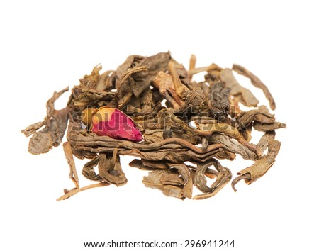 Heap of dry green tea leaves with rose bud isolated on white background - stock photo